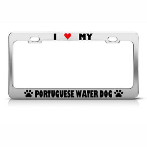 image is loading portuguese water dog paw love heart dog license - Dog License Plate Frames