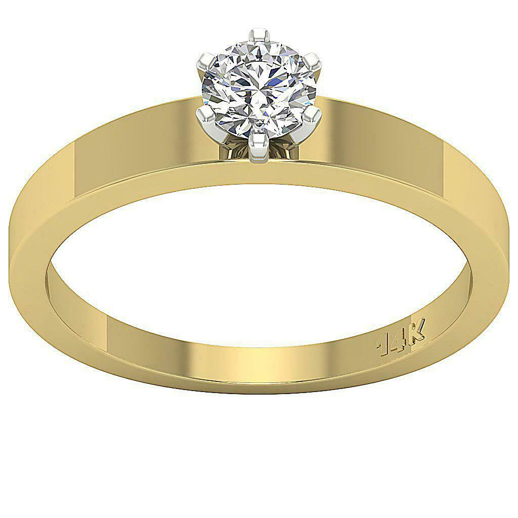 I1 G 0.40 Ct Round Cut Diamond Solitaire Engagement Ring 14K Yellow gold SZ 4-12
