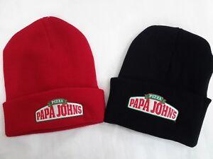 3f931880b59 PAPA JOHN S PIZZA Knit Beanie Winter Hat Toque Skull Cap Cuffed ...
