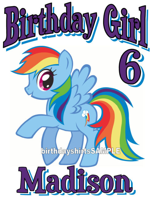CUSTOM PERSONALIZED MY LITTLE PONY RAINBOW DASH MANE SIX BIRTHDAY T SHIRT GIFT