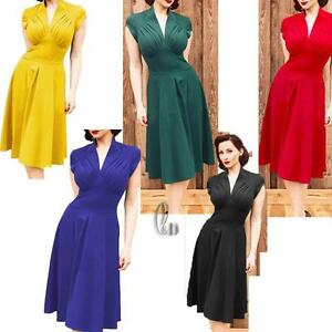 WHOLESALE-BULK-LOT-10-MIXED-COLOUR-SIZE-50-039-S-Vintage-Retro-Dress-dr043