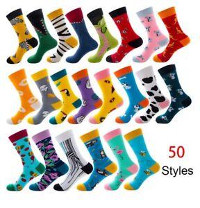 Men-Women-Socks-Combed-Animal-Fruit-Bird-Casual-Happy-Socks-Funny-Medium-Cushion
