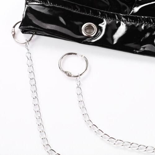 Women Shiny Leather Lingerie Triangle Bra Top Unlined Bustier Bralette Underwear