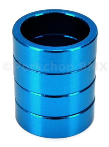 "10mm Bicycle MINI BMX ROAD MTB headset spacers 1/"" threadless BLUE SET of 4"