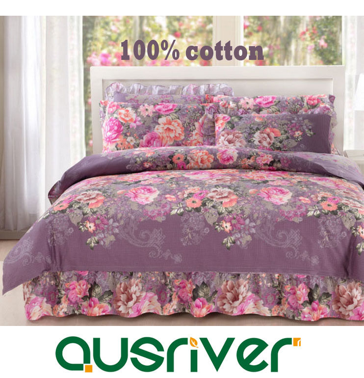Premium 4Pc Luxury Europe Style Bed Skirt Quilt Duvet Doona Cover Bed Set Fitted