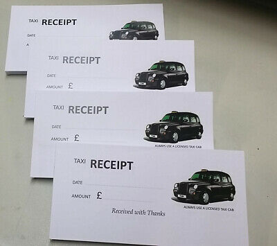 4 Pads Licensed Taxi Cash Sale Receipt 100 printed sheets per pad.
