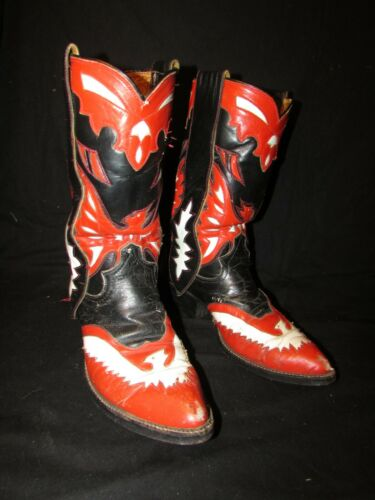 CHAMPION LEATHER COWBOY BOOTS, RED, BLACK & WHITE,