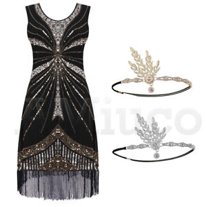 Details about 1920s Dress Flapper Great Gatsby Gown Prom Party Sequin  Fringe Dresses Plus Size