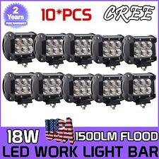 10X 4inch 18W CREE LED Work Light Bar Flood Beam Driving Lamp Truck ATV Jeep New