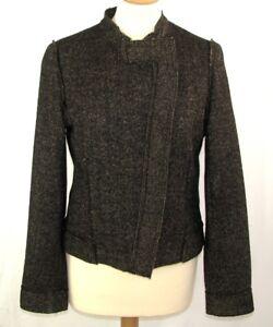 Størrelse 38 Chevron Lange Ermer Beige Black 1 Excellent Cotelac Uld Jacket w0qFFB