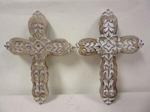Image Is Loading Pair 13 034 Wooden Crosses Hand Carved Painted