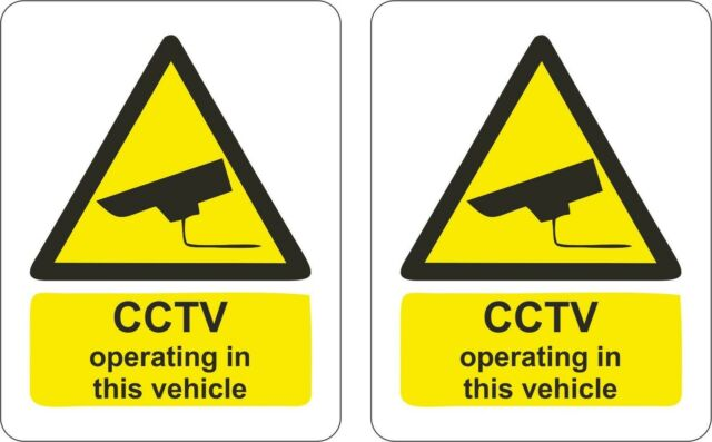 set of 2x sticker cctv operating vehicle auto taxi aufkleber macbook