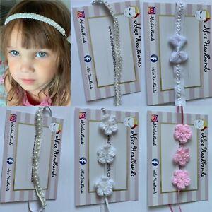 SincèRe Bébé Fille Blanc Baptême Bandeau Baptême Mariage Bow Photographie Hairband-afficher Le Titre D'origine