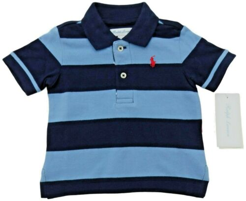 RALPH LAUREN Baby Boy ss POLO SHIRT 3 6 9 12 18M blue striped red pony BNWT