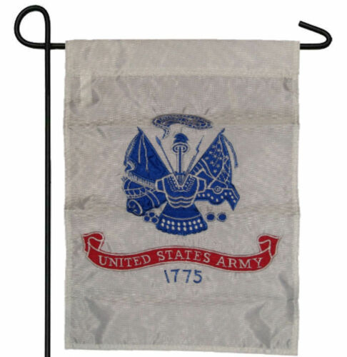 "ARMY WHITE EMBLEM GARDEN BANNER//FLAG 12/""X18/"" SLEEVED POLY EMBROIDERED U.S"