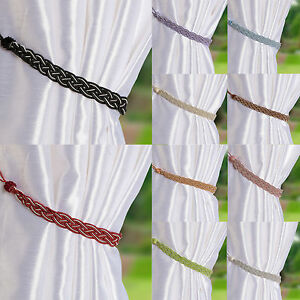 Pair-Of-Braided-Satin-Rope-Curtain-Tie-Backs-Tiebacks-Holdbacks-Curtain-amp-Voile