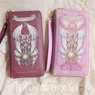 Anime Card Captor Sakura Kinomoto Star Wand handbag Wallet Pink Red PU Purse New