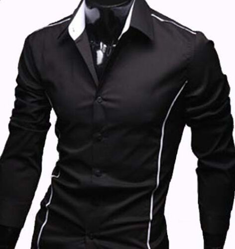 Black // Grey New Mens Casual Slim Dress Shirts - #22 UK size S//M//L//XL//XXL
