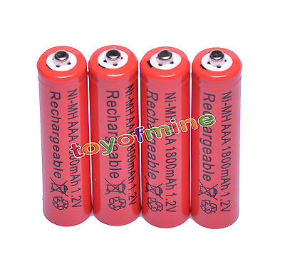 4x AAA 1800mAh 1.2V Ni-MH Rechargeable battery 3A Red Cell for MP3 RC Toys