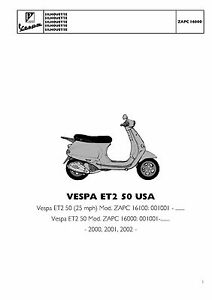 piaggio vespa parts manual book 2000 2001 2002 vespa et2 50 usa rh ebay com vespa et4 service manual vespa et4 125 repair manual