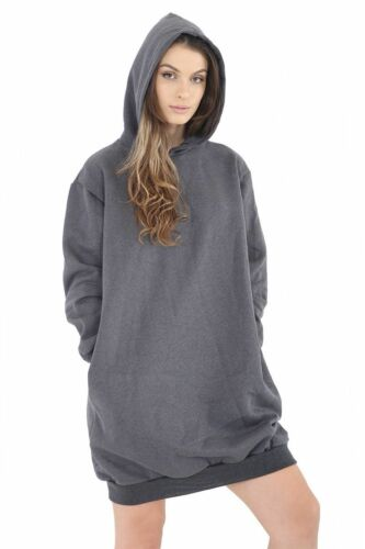 Ladies Women Oversized Loose Baggy Hooded Long Sleeves Sweatshirt Tunic UK Dress