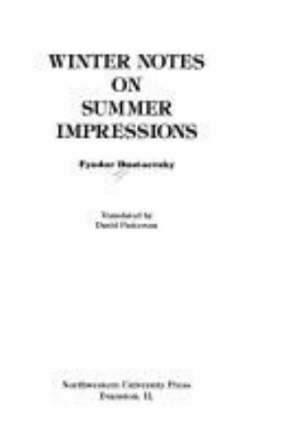 Winter Notes on Summer Impressions OP, Dostoevsky, Fyodor, Good Book