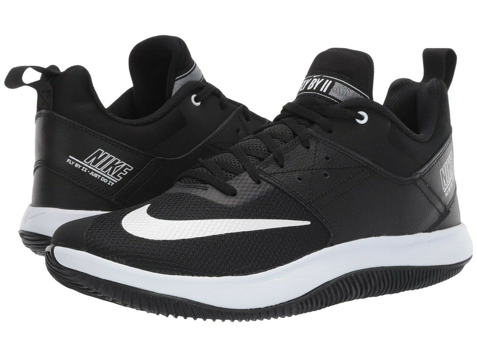 Nike FLY.BY LOW II Mens Black White AJ5902-011 Lace Up Basketball shoes