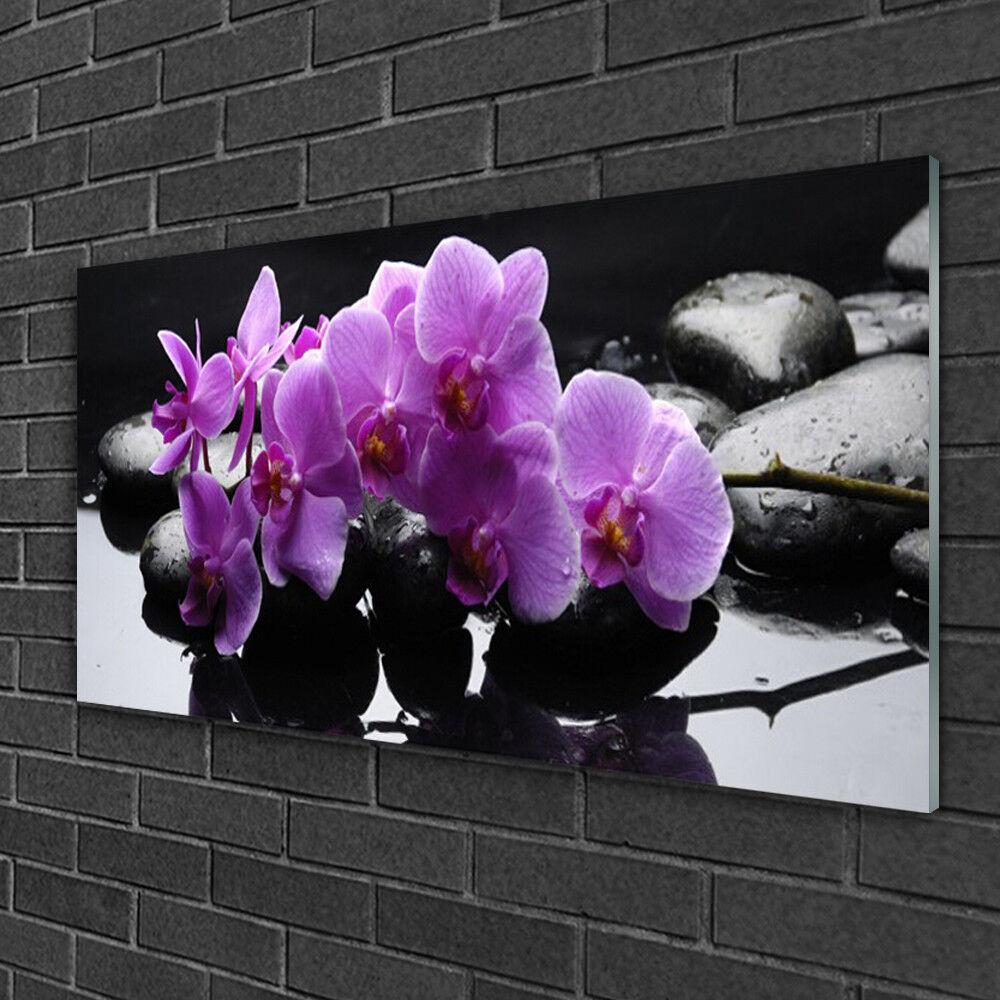 Glass print Wall art 100x50 100x50 100x50 Image Picture Flower Stones Floral d3b1c5