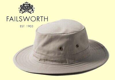 5d9605aa Failsworth Traveller Cotton Large Brim Hat Outback Travel Packable Sun Hat  | eBay