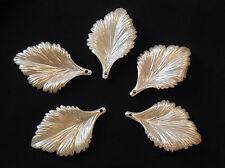 5 pcs ivory sew on acrylic leaves bridal beads Sewing Any purpose diy 4.5x2.8cm