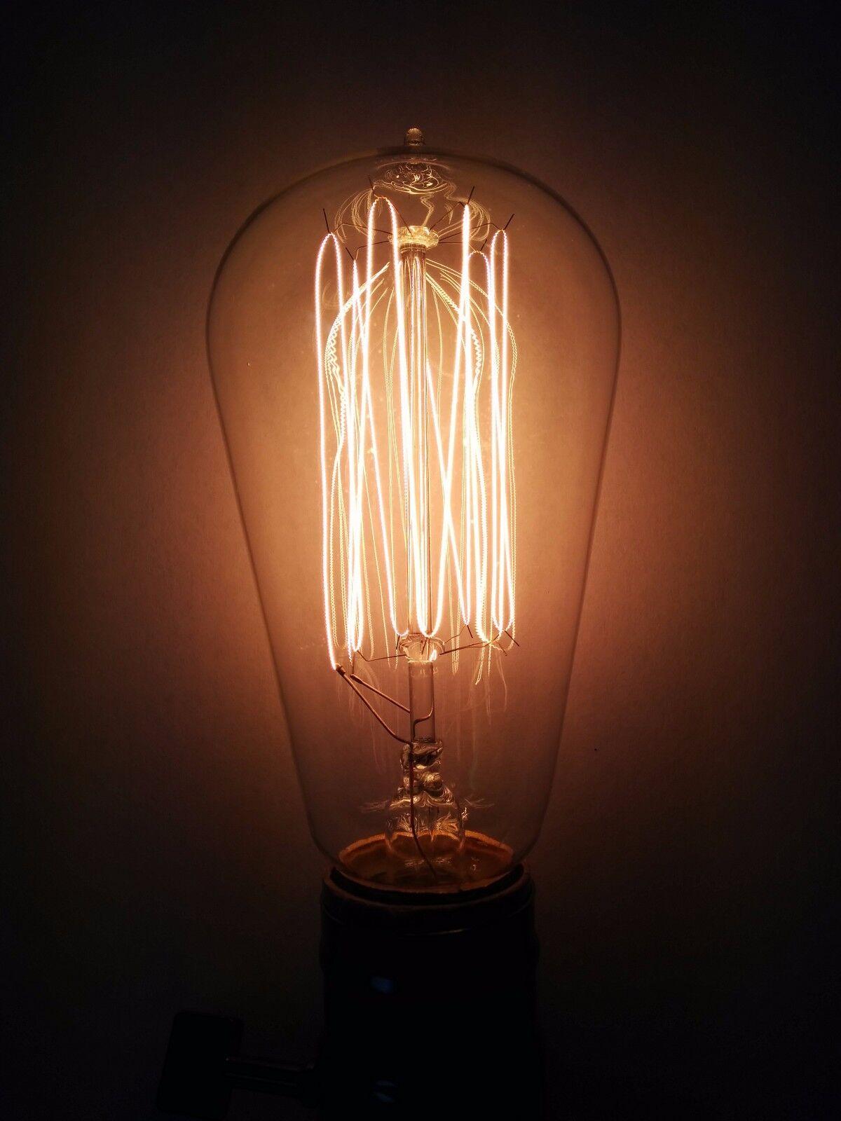 (10PK)Simple Vintage ST58 Edison Light Bulb 60W 120V Antique Clear Squirrel Cage