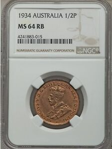 1934 Australia 1/2 Penny, NGC MS 64 RB, Mostly Red, 64 Is Finest @ PCGS & NGC