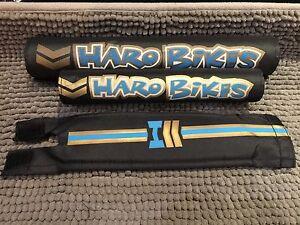 HARO-Pad-Set-BMX-freestyle-for-Top-Tube-Handlebar-Neck-black-blue-CUS-HA7