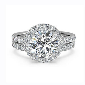 1.65 Ct Round Moissanite Anniversary Band Set Solid 18K White Gold Rings Size 8