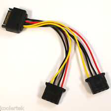 SATA 15-Pin Male to Dual (2) 4-Pin Molex Female Y Splitter Adapter Power Cable