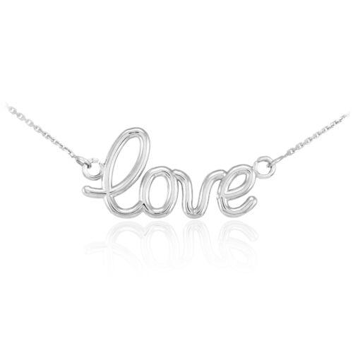 925 Sterling Silver Love Script Pendant Necklace