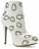 Report Signature Clarkson Bootie White Ankle Boot W/ Rhinestones Crystal 7.5