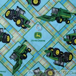 Boneful Fabric Fq Cotton Quilt Blue Green John Deere Baby Lg Plaid