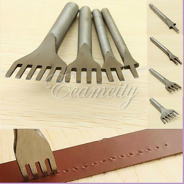 4 Style Leather Craft Metal Tools Hole Punches Lacing Stitching Punch Tool US