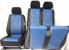 RENAULT TRAFIC/ VAUXHALL VIVARO UPTO 2014 VAN SEAT COVER BLUE LEATHER  P100BU
