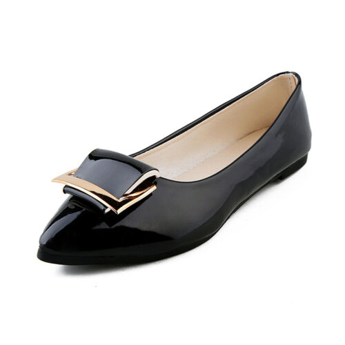 Women Flats Patent Leather Loafers Slip On Square Shoes Pumps Ballet Shoes Size