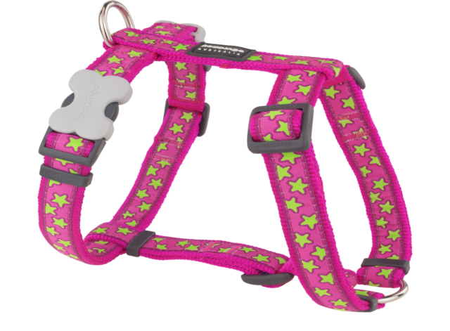 Red Dingo Adjustable Dog/Puppy Harness - Hot Pink/Lime Green Stars - FREE P&P