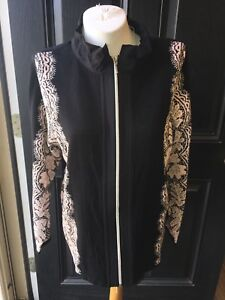 New-Chico-039-s-Zenergy-Cotton-Cashmere-Black-Lace-Mix-Neema-Jacket-3-XL-16-18-NWT