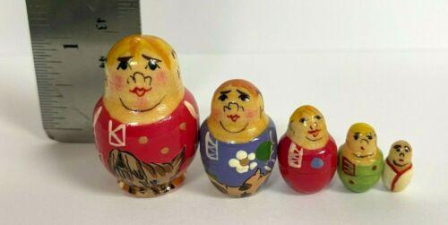 "MINI Russian Nesting Stacking Miniature Dolls 5pc 1/"" Family Matryoshka"