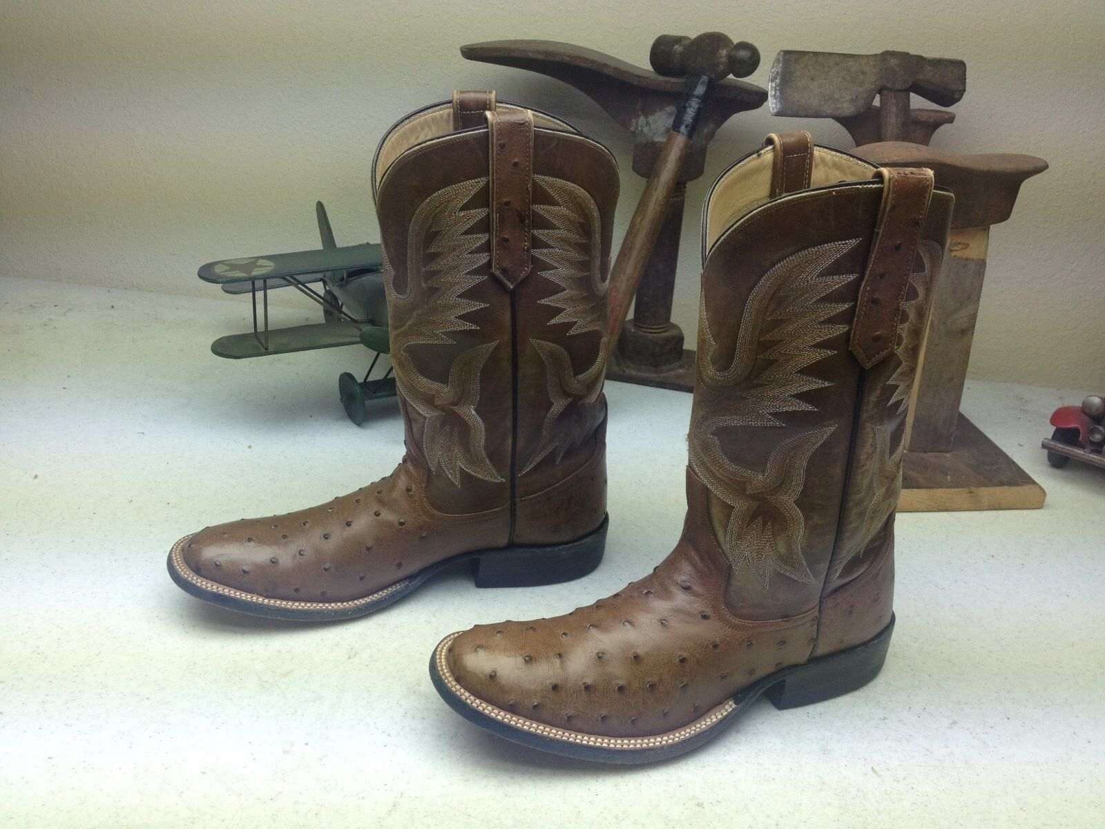RIOS OF MERCEDES WETSREN DISTRESSED OSTRICH LEATHER ENGINEER DANCING BOOTS 6 A