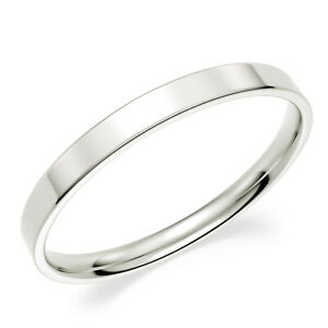 Solid-10K-White-Gold-2mm-Comfort-Fit-Men-Women-Flat-Wedding-Band-Ring