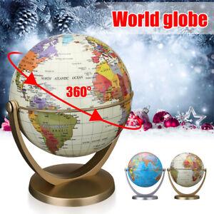 360° Rotating Globes Earth Ocean Globe World Geography Map Desktop Decor LED