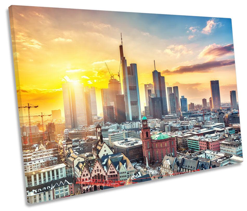 Frankfurt Sunset Germany City SINGLE CANVAS WALL ART Framed Print