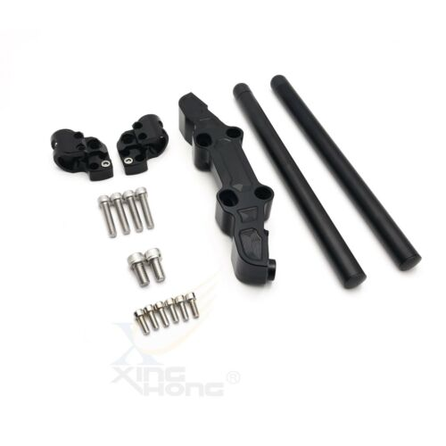 Clip-On Adapter Plate /& Handlebars Set For Kawasaki Ninja 650R//ER6F 06-16 Black