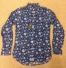 Ralph Lauren Luxury Linen Slim Fit Navy Blue Shirt RRP £330 NEW